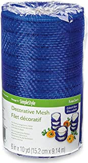 FloraCraft, Decorative Mesh, 6-Inch by 10-Yard Length, Cobalt Blue with Mettalic Strands
