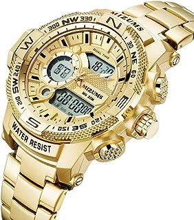 Mens Multi-Function Table Sports Quartz 3ATIM Waterproof Pointer LED Digital Display Big Dial Wristwatch