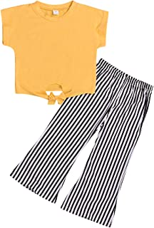 itkidboy Toddler Baby Girls T-Shirt Tops+Striped Long Pants Kids Summer Fall Outfits Clothes 2PCS Set 1-6T