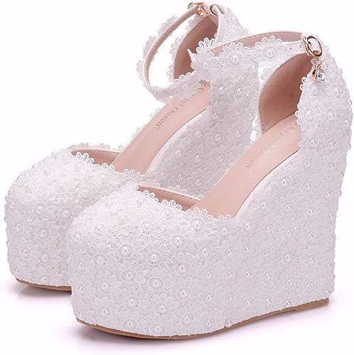 LBTSQ Chaussures Femme Talon De Chaussures Pente Unique Talon 13 Cm De Haut Lace Blanc Pearl en Robe De Mariée Chaussures De Mariage