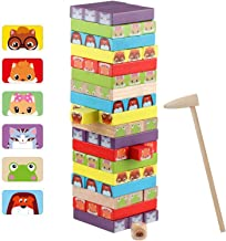 Wondertoys 54 Pieces Colorful Stacking Game Wooden Building Blocks Set - Animal Wooden Blocks Tower Board Games for Toddle...
