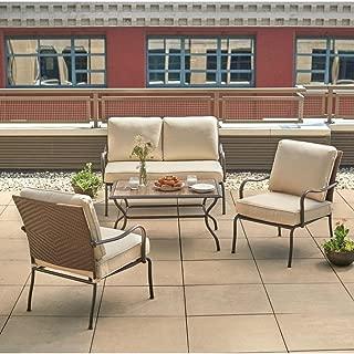 Hampton Bay Pin Oak 4-Piece Wicker Outdoor Patio Conversation Set with Oatmeal Cushions