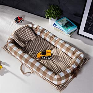 YANGGUANGBAOBEI Newborn Lounger for Bedroom Travel Camping For Newborn 100  Cotton Newborn Portable Bassinet Crib B