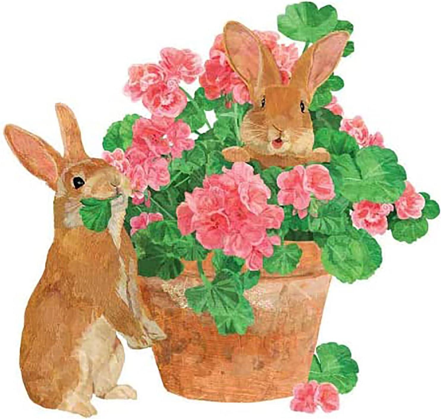 shop Super sale Paperproducts Design Flower Pot Bunnies Napkin Beverage x 5