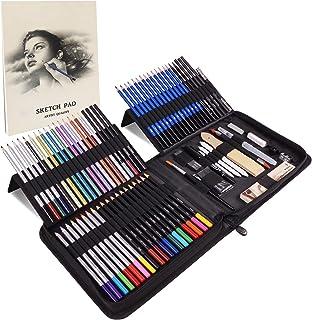 کیت نقاشی لوازم هنری 84 عدد Rapify ، Sketching Art Art/Stuff مد های هنری متنوع (رنگی ، آبرنگ ، گرافیت و مداد ذغالی) ، هدیه ایده آل برای مبتدیان