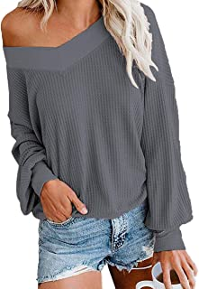 INWECH Women's Off Shoulder Tops Pullover Sweater Waffle Knit Shirt Long Sleeve V Neck Loose Knitted Blouse Tops Tunics