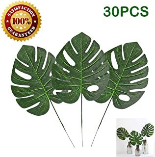 30 Pcs Artificial Palm Leaves with Stems Tropical Plant Faux Monstera Leaves Safari Leaves Hawaiian Luau Party Suppliers Decorations,Tiki Aloha Jungle Beach Birthday Table Leave Decorations