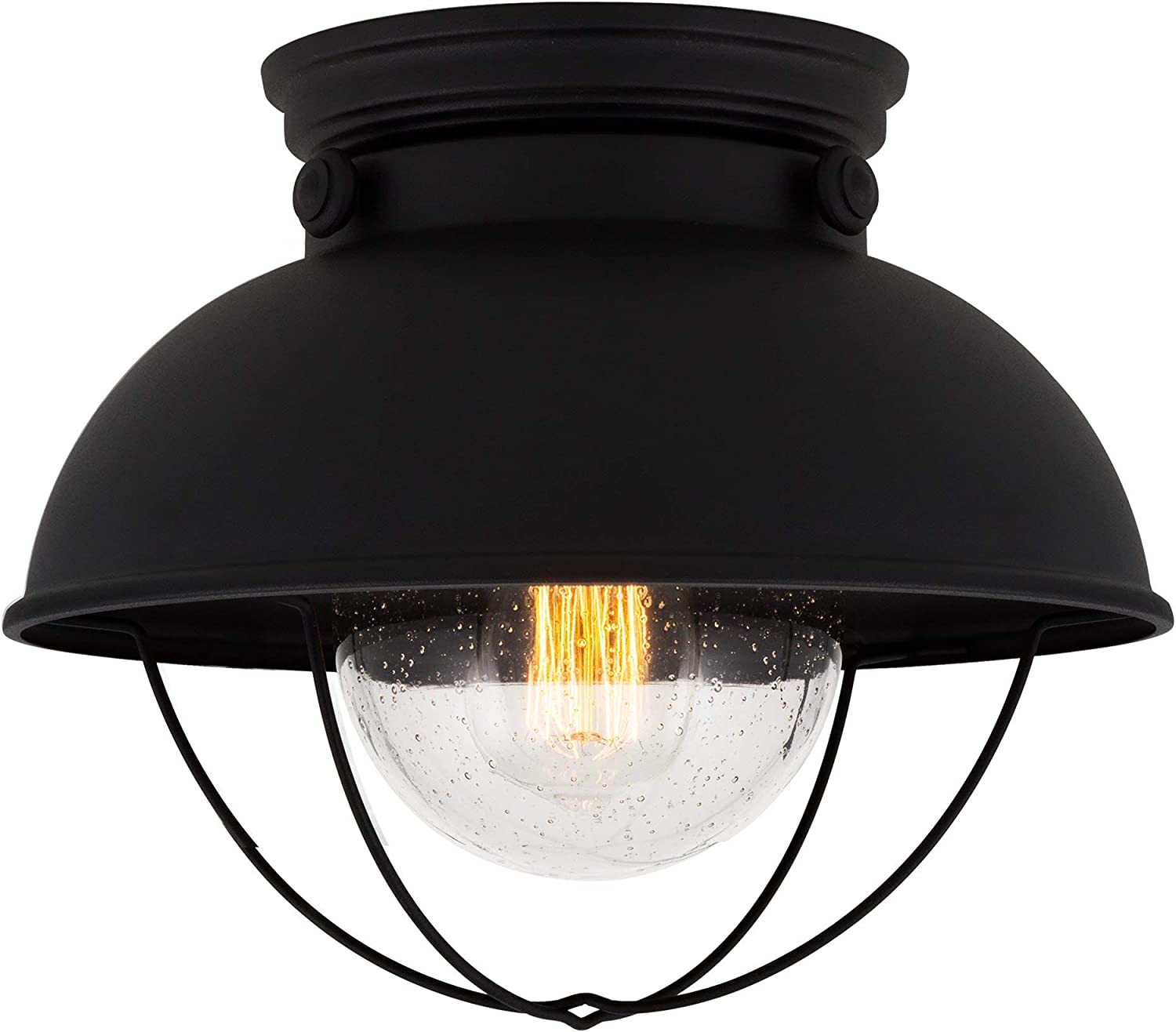 Kira Home Bayside 11  Industrial Farmhouse Flush Mount Ceiling Light + Seeded Glass Shade, Matte Black Finish