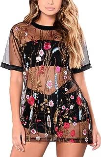 Women's Sexy See Through Sheer Mesh Embroidered Mini T-Shirt Dress Clubwear