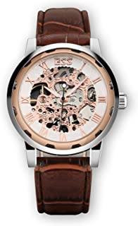 Leather Men's Mechanical Watch Rose Gold Skeleton Brown Stainless Steel Vintage Wrist Watch