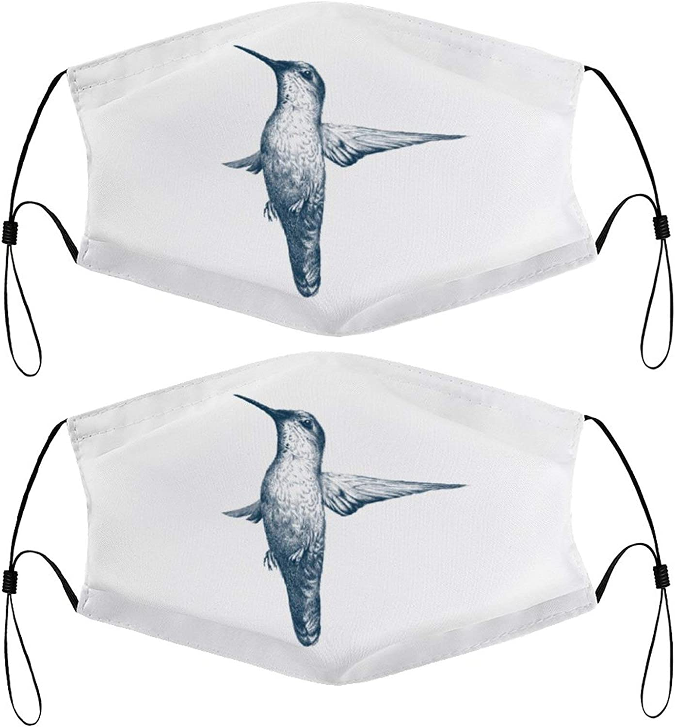 Hummingbird Drawing Kids Face Masks Set of 2 with 4 Filters Washable Reusable Breathable Black Cloth Bandanas Scarf for Unisex Boys Girls