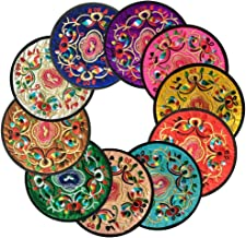 Ambielly Drinks Coasters ,Vintage Ethnic Floral Fabric Coasters Bar Coasters Cup Coasters..