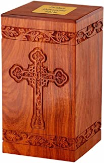 Memorials4u Solid Rosewood Cremation Urn with Hand-Carved Cross Design with Custom Engraved Brass Plate for Human Ashes - Adult Funeral Urn Handcrafted and Engraved - Urn for Ashes - Wood Urn