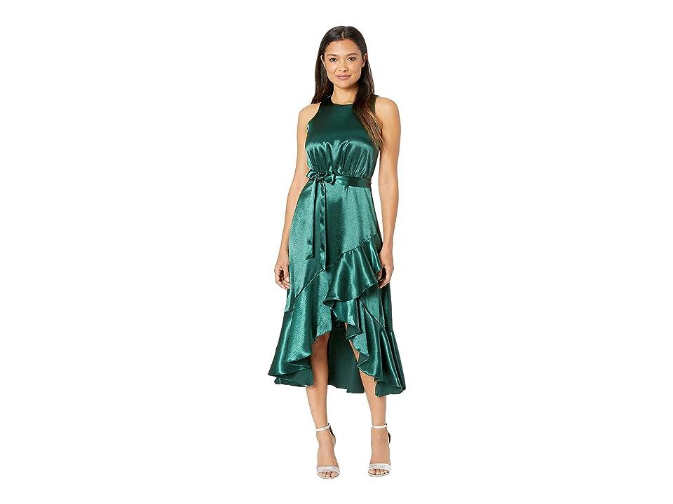 Taylor Satin Sleeveless Ruffle Hem Tie Sash Dress (Hunter Green) Women