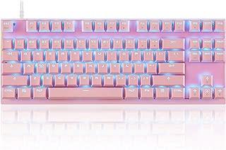 MOTOSPEED Professional Gaming Mechanical Keyboard RGB Rainbow Backlit 87 Keys Illuminated Computer USB Gaming Keyboard for Mac & PC Pink