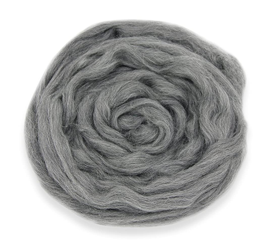 Needle Felting Wool Roving Top DIY Craft Materials (Gray-3.5OZ)