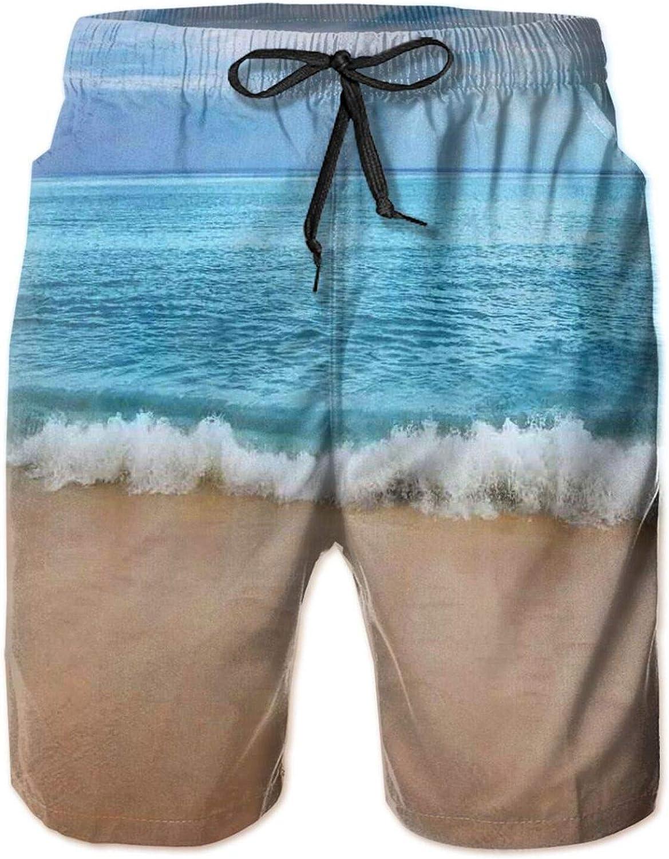 MUJAQ Andaman Islands Calm Serene Sea Soft Sandy Beach Summer Day Picture Drawstring Waist Beach Shorts for Men Swim Trucks Board Shorts with Mesh Lining,M