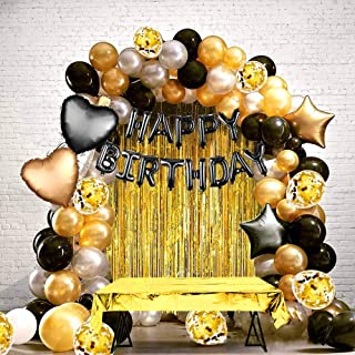 Birthday Party Decoration set, Black Gold Theme Party Set, Party supplies kit, confetti, Tablecloth ,latex balloons, Ribbo...