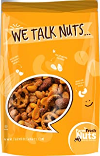 Sweet & Savory Bar Mix / Nuts & Pretzel Snack mix ~ An Exciting Combination of Smoked almonds, Pretzels, Honey Roasted Peanuts, Toffee Peanuts, Spicy Peanuts (1 Pound)