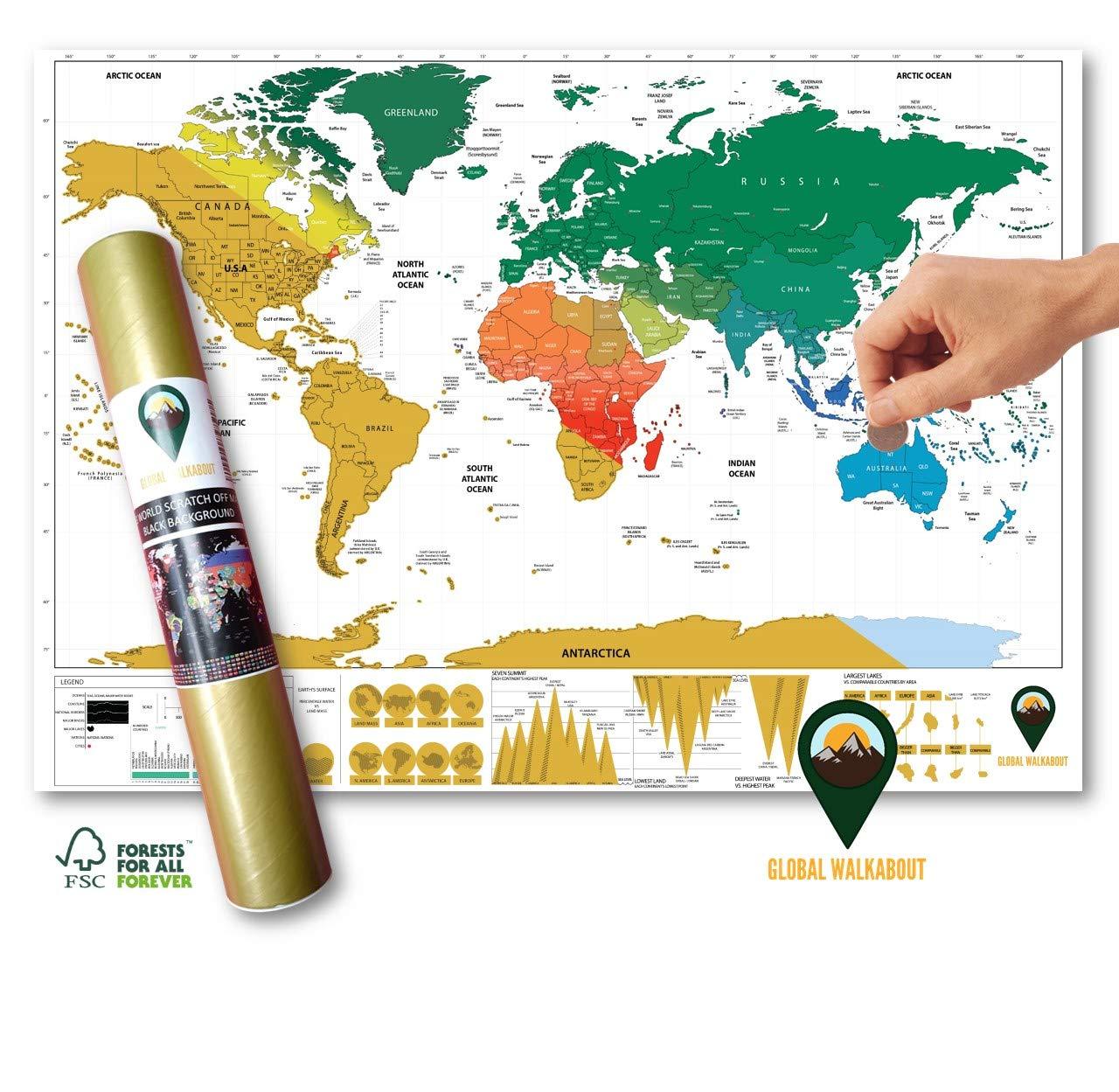 Global Walkabout - Póster de Mapa del Mundo para rascar con Fondo ...