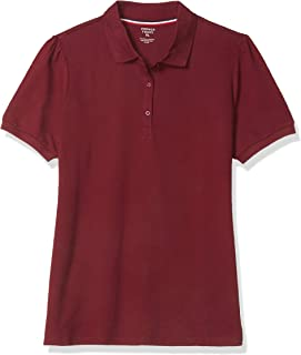 French Toast Junior's Short Sleeve Stretch Pique Polo, Burgundy, X-Large