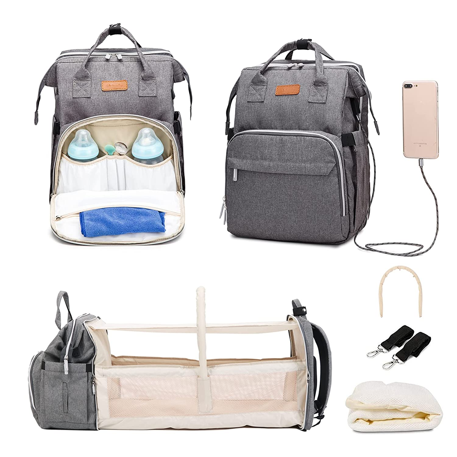 Baby Diaper Bag, Diaper Bag with Changing Station, Portable Diaper Backpack with USB Charging Port, Waterproof(Grey)