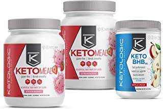 KetoLogic Keto 30 Challenge Bundle, 30-Day Supply | Includes 2 Meal Replacement Shakes with MCT [Strawberry] & 1 BHB Salt [Apple-Pear] | Suppresses Appetite, Promotes Weight Loss & Increases Energy