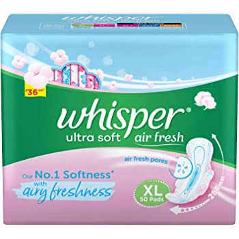 Whisper Ultra Soft Sanitary Pads for Women, XL 50 Napkins