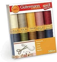 Gutermann 734521-3 Thread Set Natural Cotton 50 100m/10 reels, Multi-Colour