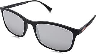 Prada Linea Rossa Men's 0PS 01TS Black Rubber/Light Grey Mirror Silver One Size