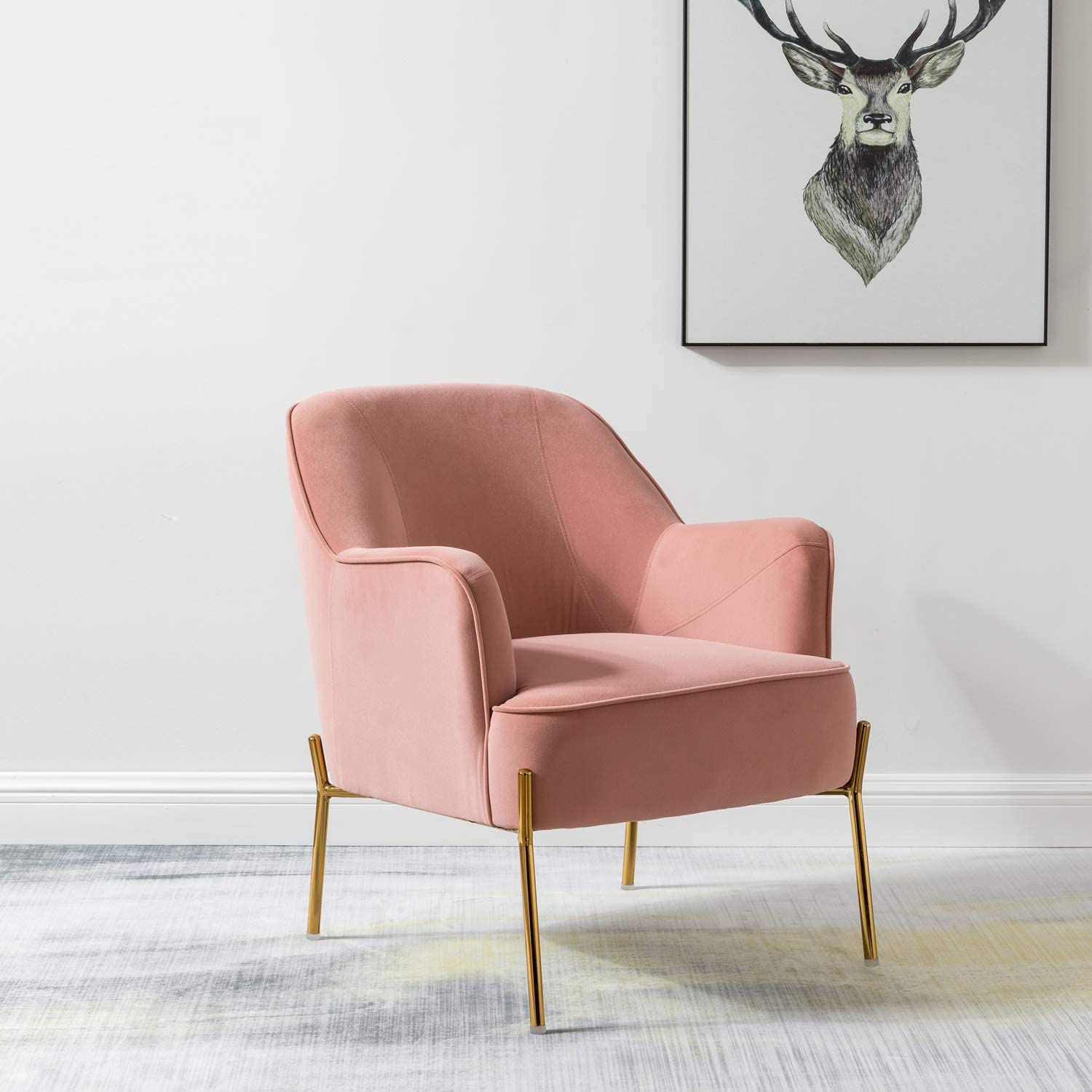 Nora Velvet Accent Chair Many popular brands with Glam Metal wholesale Cute Beauty Vanity Legs