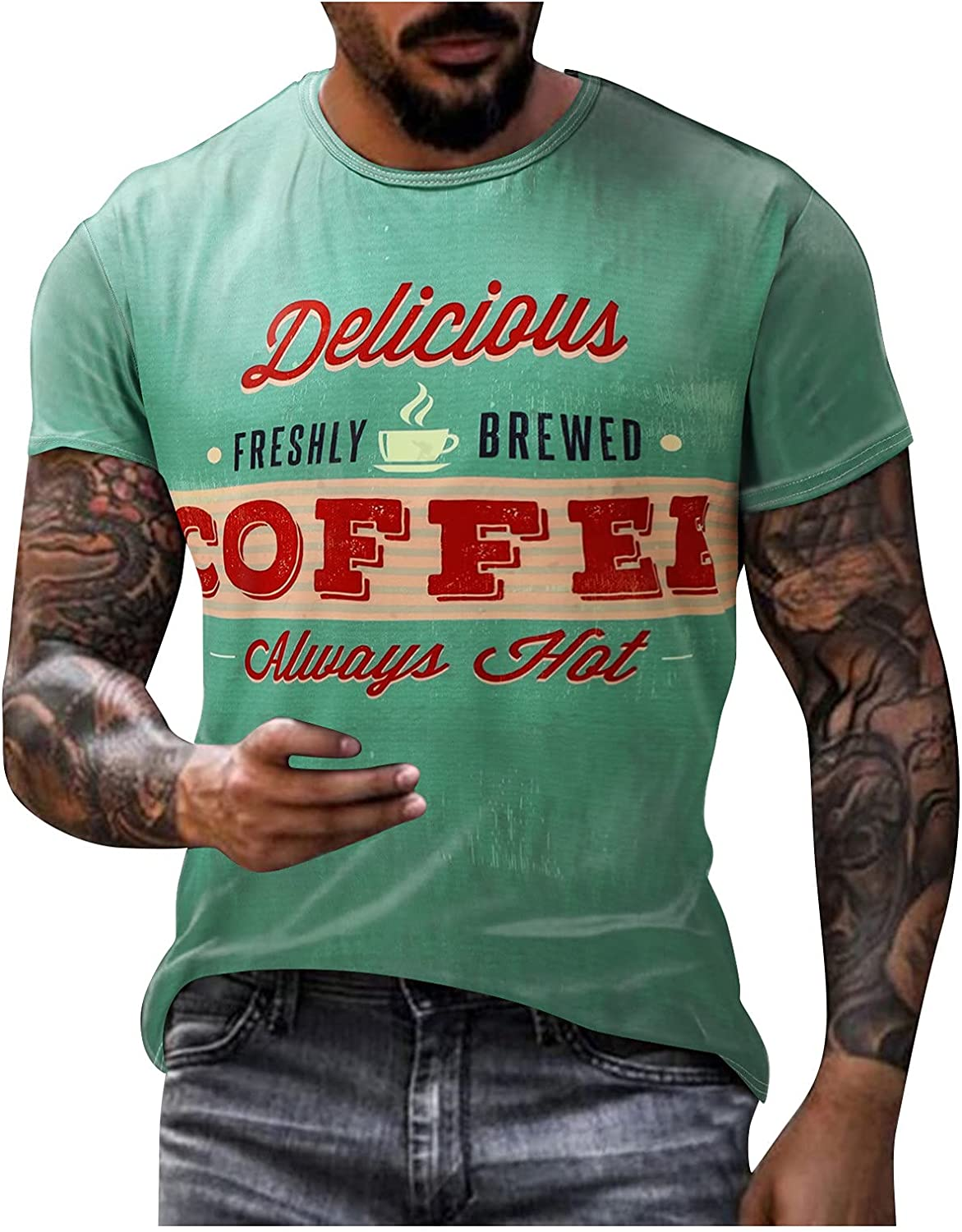 Mens Tshirts Short Sleeve Graphic Funny Tee O Neck Printed Vintage Workout Shirts Slim Fit Top Blouse
