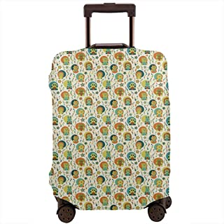 Travel Luggage Cover,Nursery Bear Rabbit Panda Koala Lion Fox Pig Motifs With Colorful Spots Doodle Icons Suitcase Protector