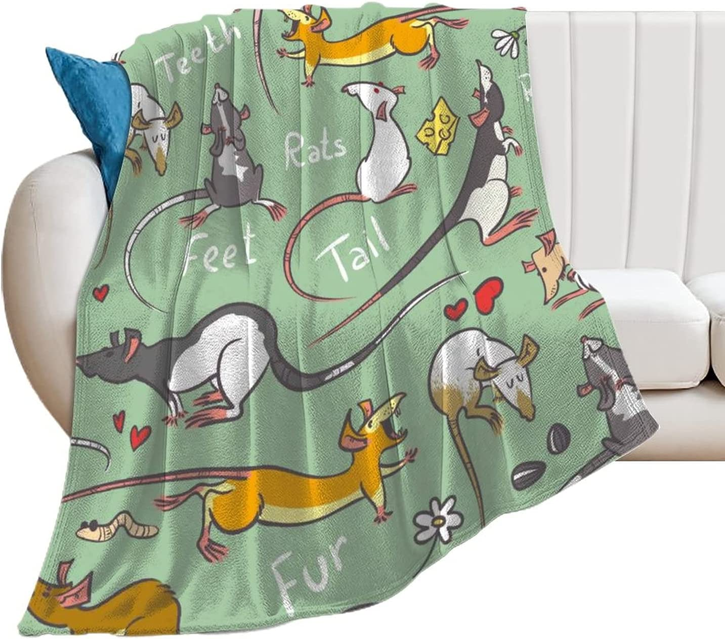 DKISEE overseas Flannel Throw Sacramento Mall Blankets Cute Rats Blanket Couch 40 Fleece
