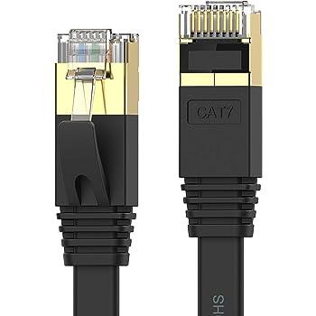 Senetem LANケーブル 1m CAT7ウルトラフラットLANケーブル カテゴリ7 高速 lanケーブル 10Gbps/600MHz CAT7準拠 イーサネットケーブル RJ45 ツメ折れ防止 やわらか スリム ブラック モデム ルータ PS3 PS4 PS5 Xbox等に対応