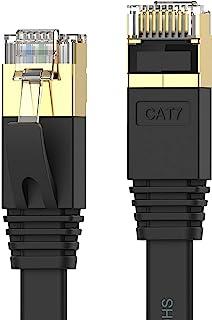Senetem LANケーブル 3m CAT7ウルトラフラットLANケーブル カテゴリ7 高速 lanケーブル 10Gbps/600MHz CAT7準拠 イーサネットケーブル RJ45 ツメ折れ防止 やわらか スリム ブラック モデム ルータ ...