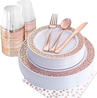 NERVURE 175PCS Rose Gold Plastic Plates & Plastic Silverware & Rose Gold Cups, 25 Disposable Plates Setting: 25 Dinner Plates,25 Dessert Plates, 25 Forks,25 Knives, 25 Spoons, 25 Cups,25 Napkins