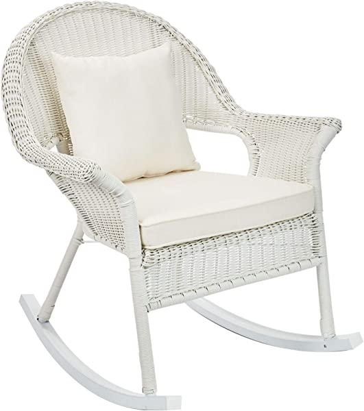 BrylaneHome Roma All Weather Rocking Chair White