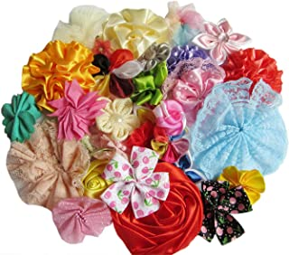 YYCRAFT 80pcs Ribbon Flowers for Sewing Applique,DIY Hair Bow Accessory Craft,Wedding Party Decorations