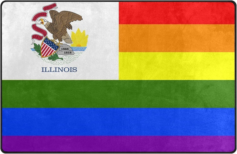 HEOEH Rainbow Flag Illinois Doormats Area Rug Rugs Non-Slip Floor Mat Indoor Outdoor 60x39 inch
