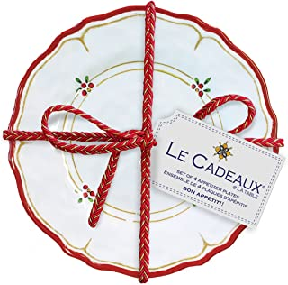 Le Cadeaux Holiday Melamine Appetizer Plates, Natale (Set of 4)
