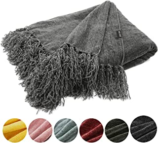 EverGrace Cozy Soft Chenille Throw Blanket with Fringe Luxury Fluffy Throw Blankets for Home Decor Traveling Camping Picnic 50x 60 Grey