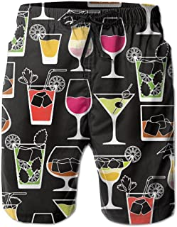 Mens Alcohol Drinks and Cocktails Summer Holiday Swim Trunks Beach Shorts Board Shorts