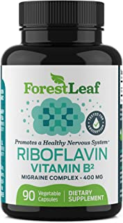 Vitamin B2 Riboflavin, 400mg - 90 Capsules - Promotes Healthier Blood, Nervous System, Energy and Metabolism – Non-GMO, Gl...