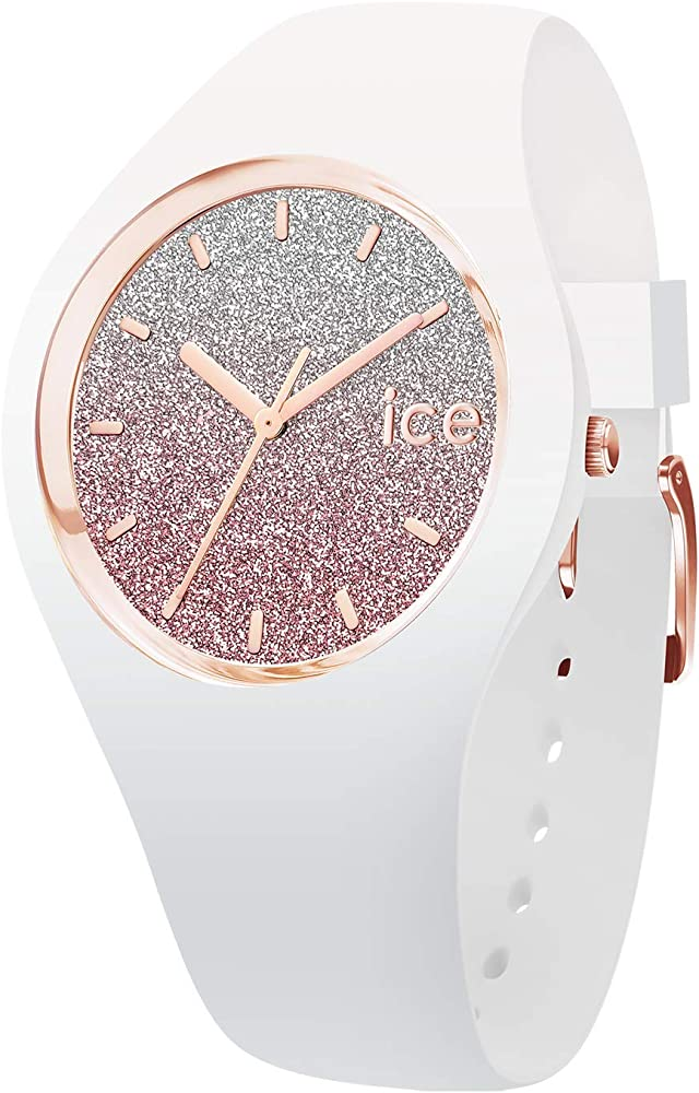 Ice-watch,ice lo white pink,orologio bianco da donna con cinturino in silicone ,con anello e lancette oro rosa 13431