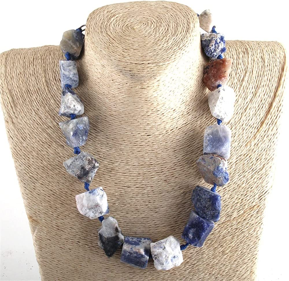 KKSI Fashion Boho Jewelry BigChunks Natural Stones Choker Necklace Collar Statement Necklaces Women Bohemia Necklace Gift Dropship Chakra Necklace (Length : 46cm, Metal Color : Blue)
