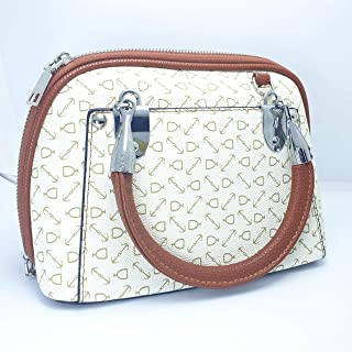 Women's Handbag Color Brown and White Wave