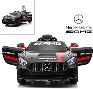 Mercedes Benz AMG GT4 Electric Ride On Car with Remote Control for Kids, 12V Power Battery Official Licensed Kids Car with 2.4G Radio Parental Control Opening Doors, Black