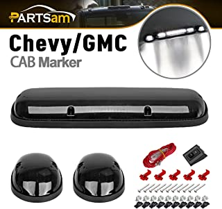 Partsam 3pcs Smoke Cover Lens White 30 LED Cab Marker Roof Running Top Lights Assembly + Wire Pack Compatible with Chevrolet Silverado/GMC Sierra 1500 1500HD 2500 2500HD 3500 2002-2007 Truck