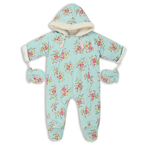 b734a3261 The Essential One - Baby Girls Vintage Floral Jersey Pramsuit - Mint - EO261